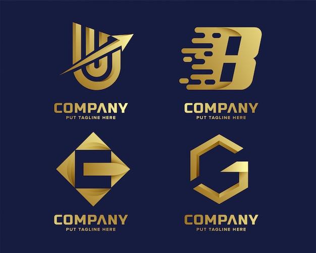 Kolekcja Logo Złoty Inital List Premium Wektorów