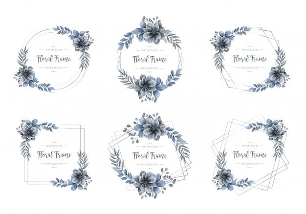 Kolekcja luksusowych niebieski akwarela kwiatowy rama srebrny Premium Wektorów
