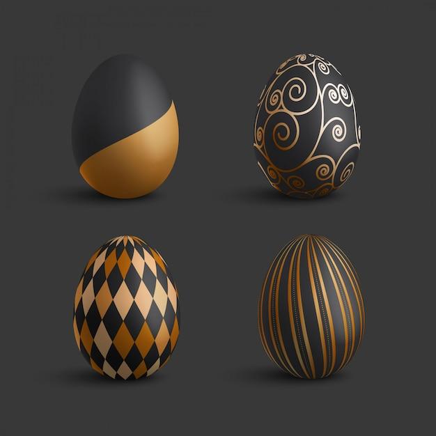 Kolekcja Luksusowych Złote Ozdoby Wielkanocne Jaja Premium Wektorów