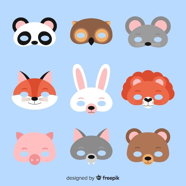 Kolekcja maski karnawałowe zwierząt Darmowych Wektorów