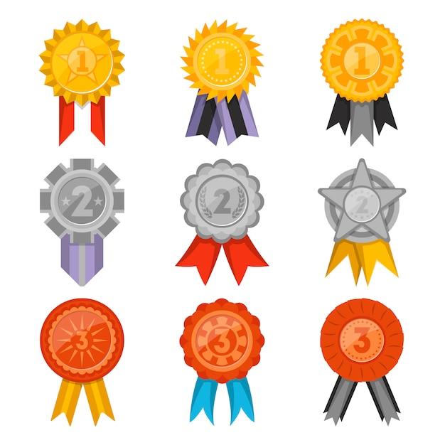 Kolekcja medali z zestawem na białym tle wstążki Premium Wektorów