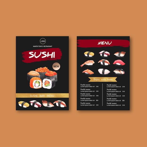 Kolekcja menu sushi dla restauracji. Darmowych Wektorów