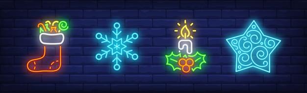 Kolekcja Merry Xmas W Neonowym Stylu Darmowych Wektorów