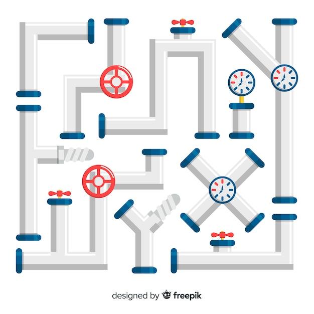 Kolekcja metalowych rurociągów z przyrządami o płaskiej konstrukcji Darmowych Wektorów