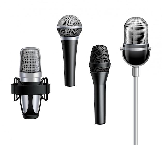 Kolekcja mikrofonów w realistycznym stylu Darmowych Wektorów
