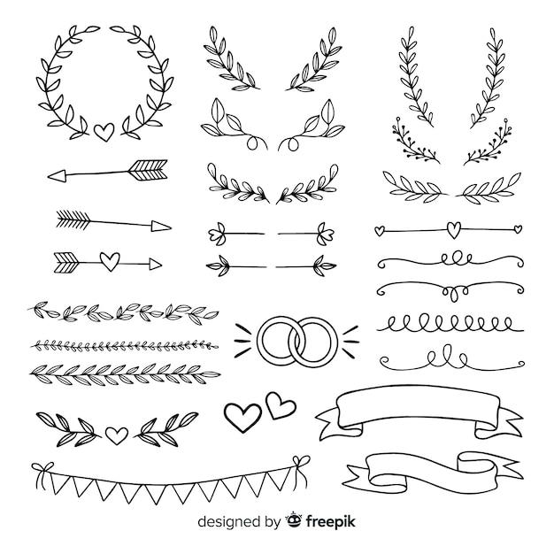 Kolekcja minimalistycznych ręcznie rysowane ozdoby ślubne Darmowych Wektorów