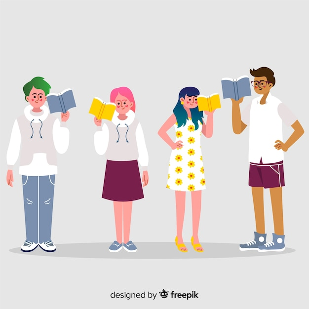 Kolekcja młodych ludzi czytających Darmowych Wektorów