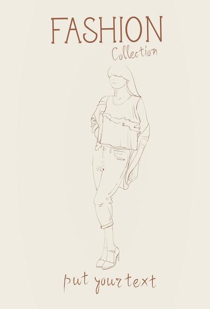 Kolekcja mody odzieży damskiej zestaw modelek w modnych ubraniach szkic Premium Wektorów
