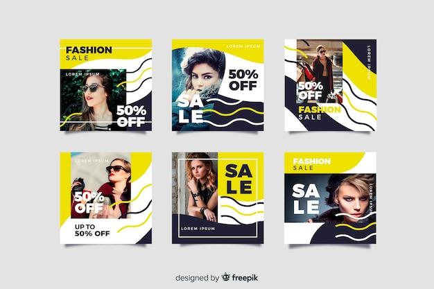 Kolekcja mody streszczenie sprzedaż instagram post Darmowych Wektorów