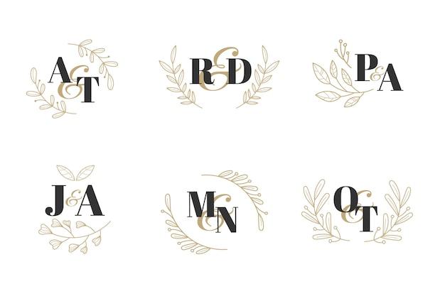 Kolekcja Monogram Kwiatowy Wesele Darmowych Wektorów