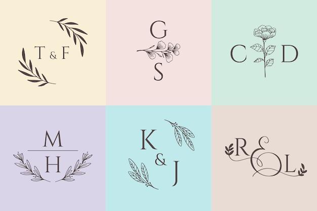 Kolekcja Monogramów ślubnych W Pastelowych Kolorach Darmowych Wektorów
