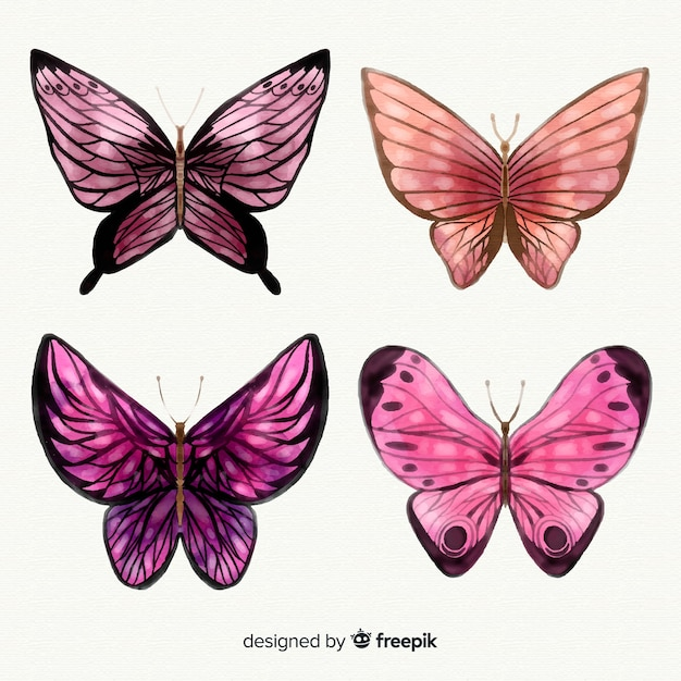 Kolekcja motyli akwarela Darmowych Wektorów
