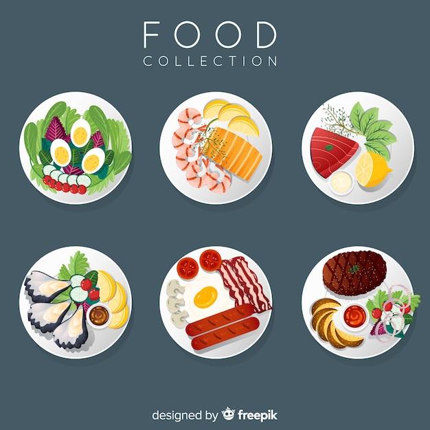 Kolekcja naczyń 2d żywności Darmowych Wektorów