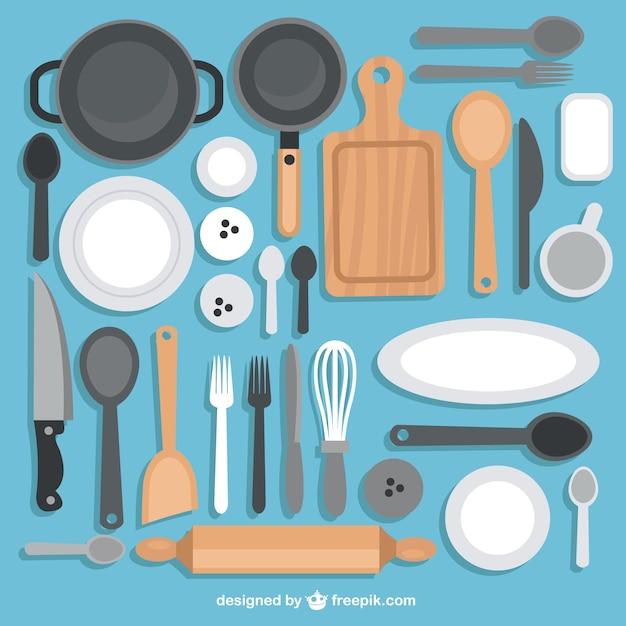 Kolekcja Naczynia Kuchenne Darmowych Wektorów