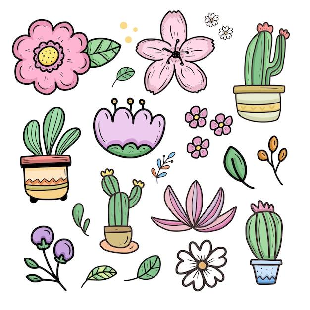 Kolekcja Naklejek Kreskówka ładny Kwiat I Kaktus Premium Wektorów