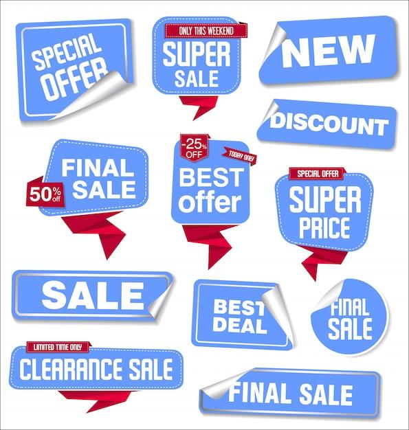 Kolekcja Naklejek Sprzedaży I Metek Premium Wektorów