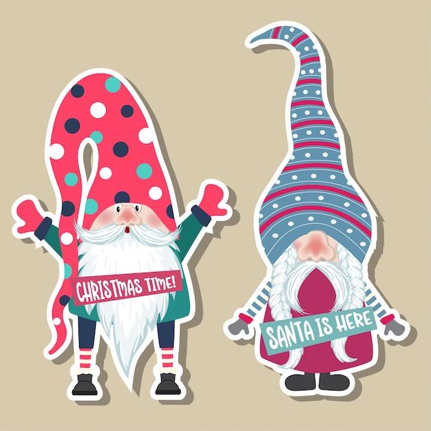 Kolekcja naklejek świątecznych z uroczymi krasnoludkami. płaska konstrukcja Premium Wektorów