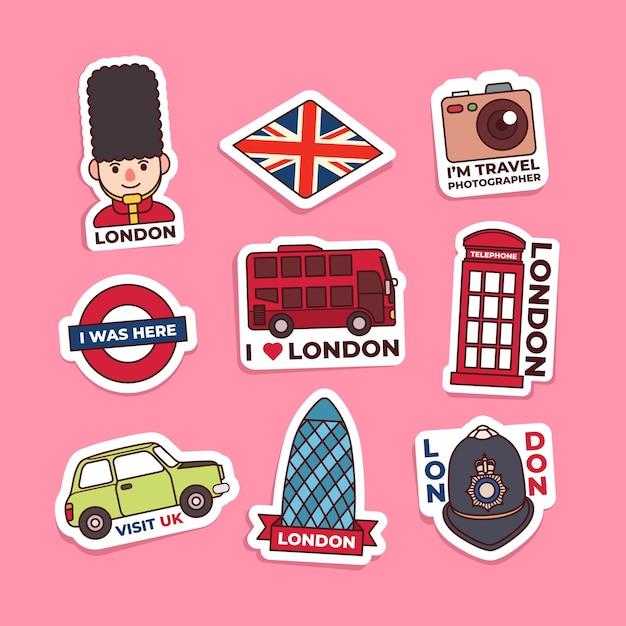 Kolekcja Naklejek W Londynie Premium Wektorów