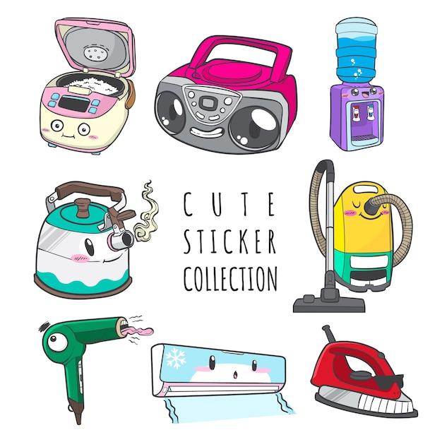 Kolekcja Naklejek Ze Słodkim Urządzeniem Gospodarstwa Domowego Premium Wektorów