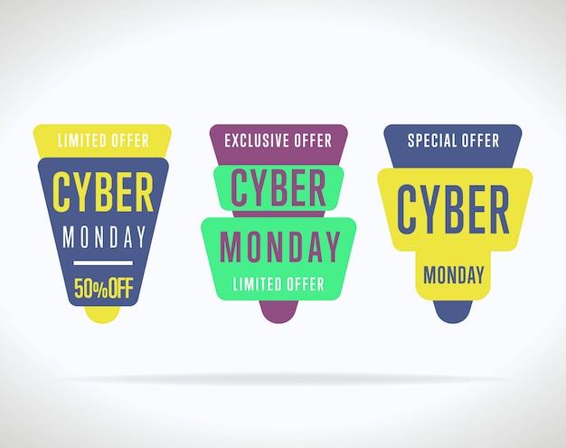 Kolekcja naklejki sprzedaż cyber poniedziałek na białym tle Premium Wektorów