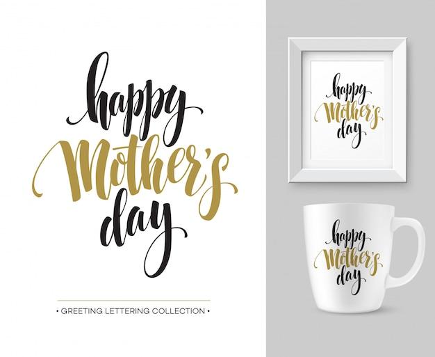 Kolekcja Napis Ręcznie Dzień Matki. Szablon Projektu Makiety. Premium Wektorów
