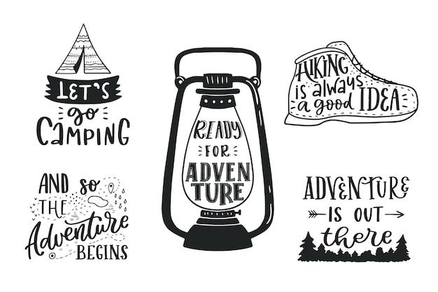 Kolekcja Napisów Camping Premium Wektorów