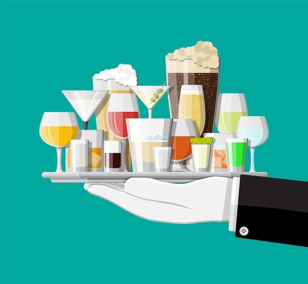 Kolekcja Napojów Alkoholowych W Okularach W Ręku Premium Wektorów
