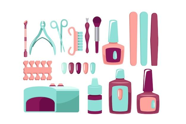 Kolekcja Narzędzi Do Manicure Darmowych Wektorów