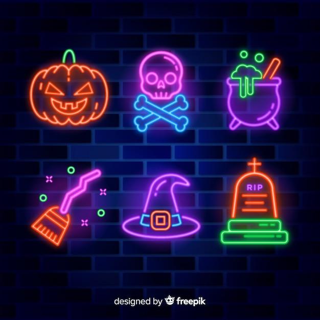 Kolekcja neon element halloween Darmowych Wektorów