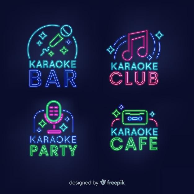 Kolekcja Neonowych Klubów Karaoke Darmowych Wektorów