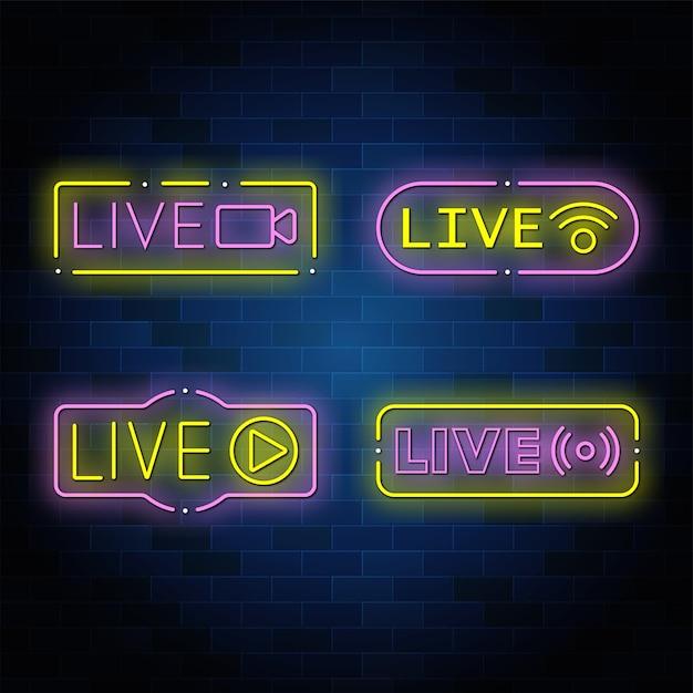 Kolekcja Neonowych Przycisków Na żywo Premium Wektorów