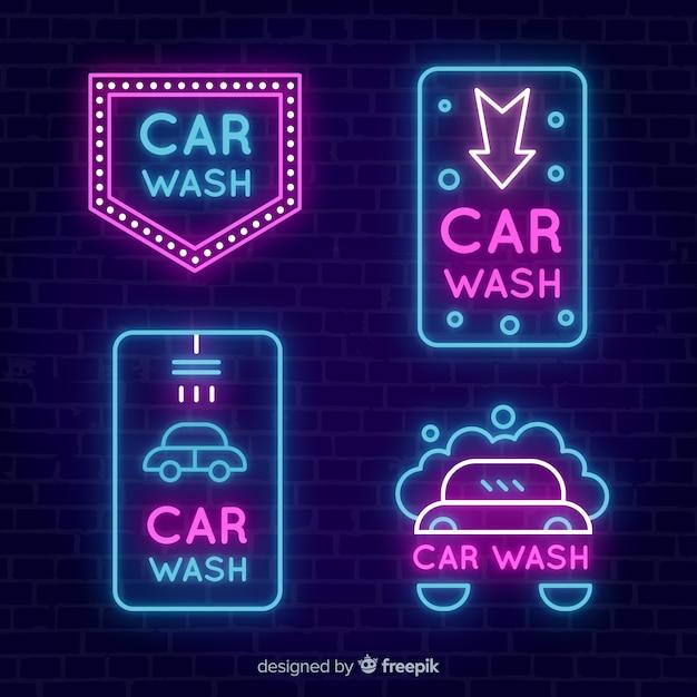 Kolekcja Neonowych Znaków Samochodowych Darmowych Wektorów