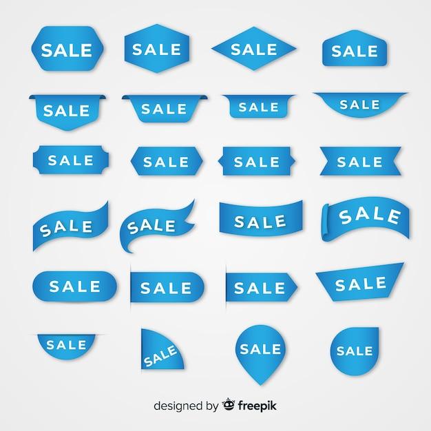 Kolekcja niebieskiej etykiety sprzedaży Darmowych Wektorów