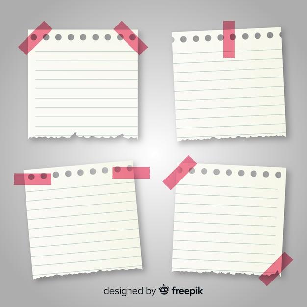 Kolekcja notatek w realistycznym stylu Darmowych Wektorów