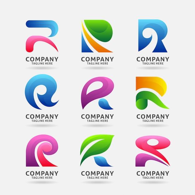 Kolekcja nowoczesnego logo letter r Premium Wektorów