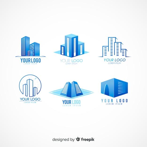 Kolekcja Nowoczesnego Logo Nieruchomości Premium Wektorów