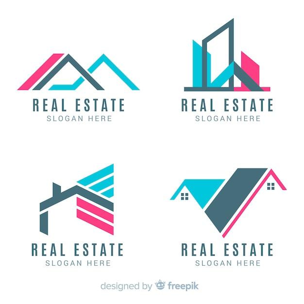 Kolekcja nowoczesnego logo nieruchomości Darmowych Wektorów