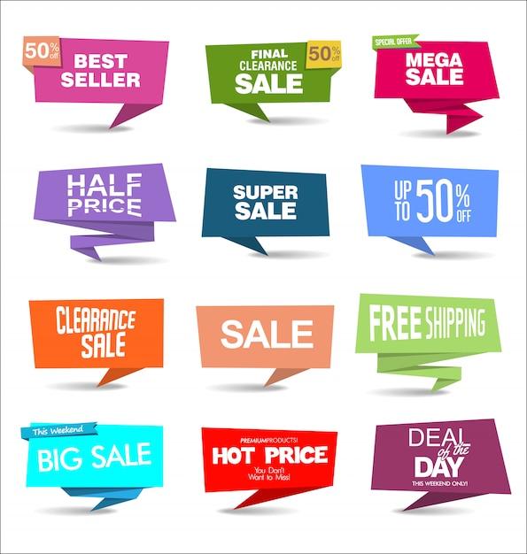 Kolekcja nowoczesnych kolorowych naklejek sprzedażowych Premium Wektorów