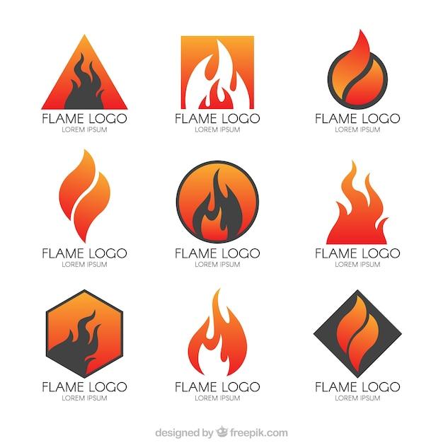 Kolekcja Nowoczesnych Logo Płomieniach Darmowych Wektorów