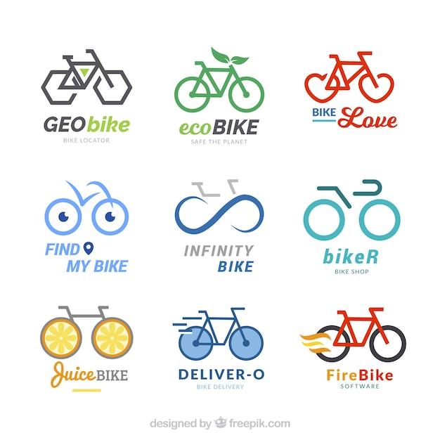 Kolekcja nowoczesnych logo rowerowych Darmowych Wektorów