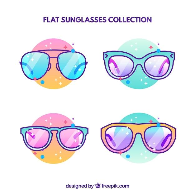 Kolekcja Nowoczesnych Okulary W Stylu Płaski Darmowych Wektorów