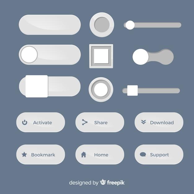 Kolekcja nowoczesnych przycisków internetowych z płaskiej konstrukcji Darmowych Wektorów