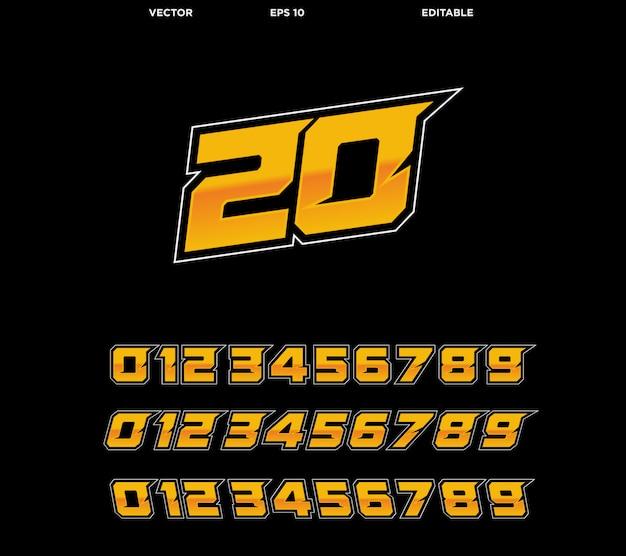 Kolekcja Numerów Wyścigowych Premium Wektorów