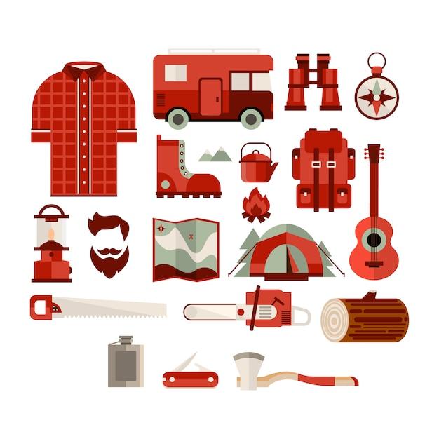 Kolekcja Obiektów Sprzętu Turysty Premium Wektorów
