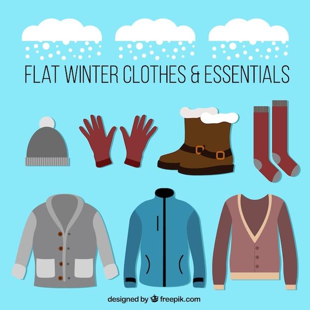 Kolekcja odzieży i akcesoriów zimowych Darmowych Wektorów