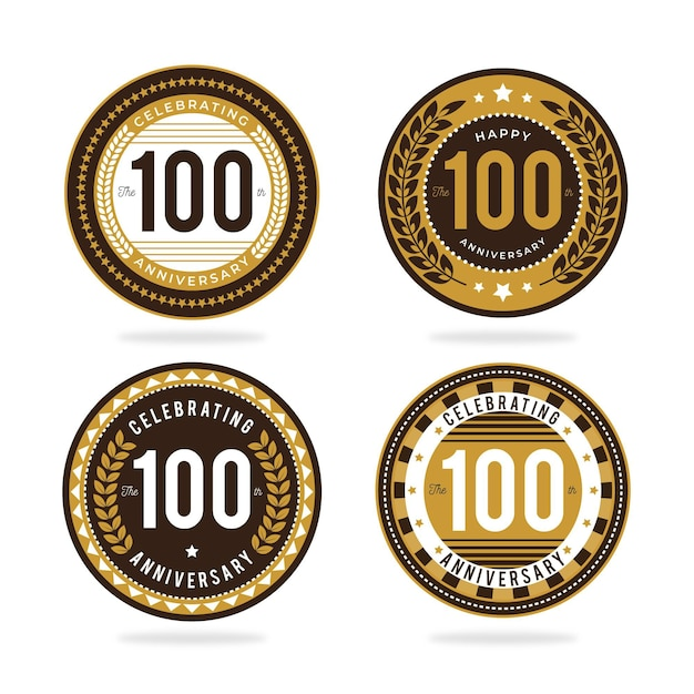 Kolekcja Odznak 100-lecia Darmowych Wektorów