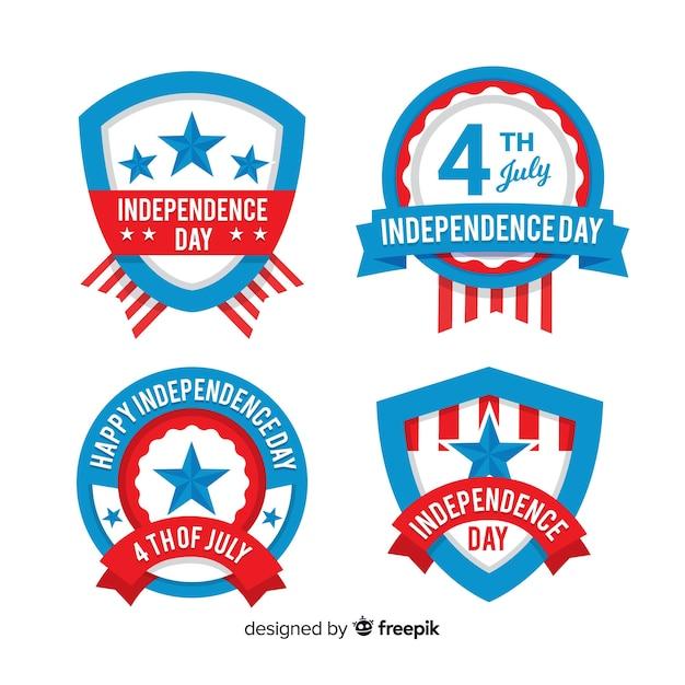 Kolekcja odznak czwartego lipca Darmowych Wektorów