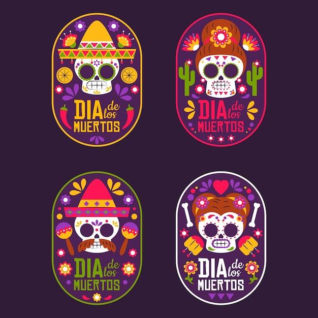 Kolekcja Odznak Dia De Muertos W Płaskiej Konstrukcji Darmowych Wektorów