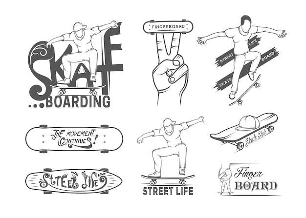 Kolekcja Odznak Do Skateboardingu Premium Wektorów