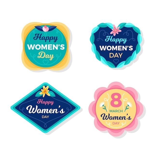 Kolekcja Odznak Dzień Kobiet Płaska Darmowych Wektorów